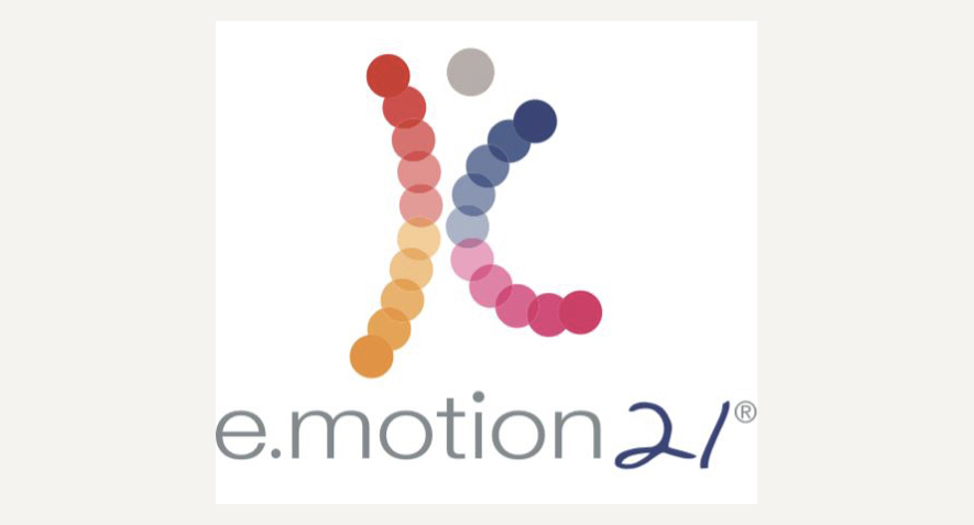 The logo for dance company emotion21. Small overlapping multi-coloured circles are arranged in two gentle curves to appear like a body in motion