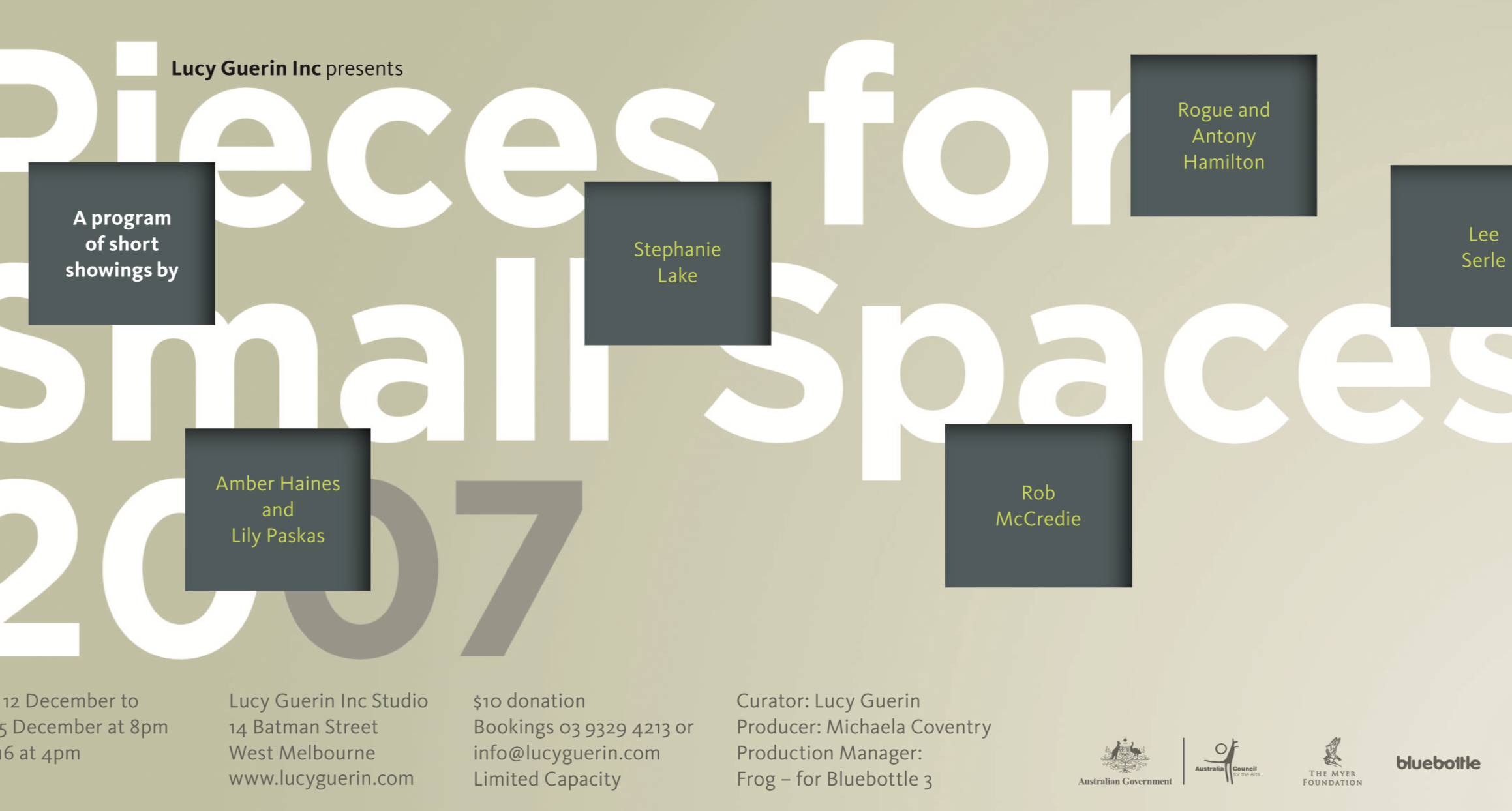 Poster for Pieces for Small Spaces 2007 with text in grey boxes on a beige background
