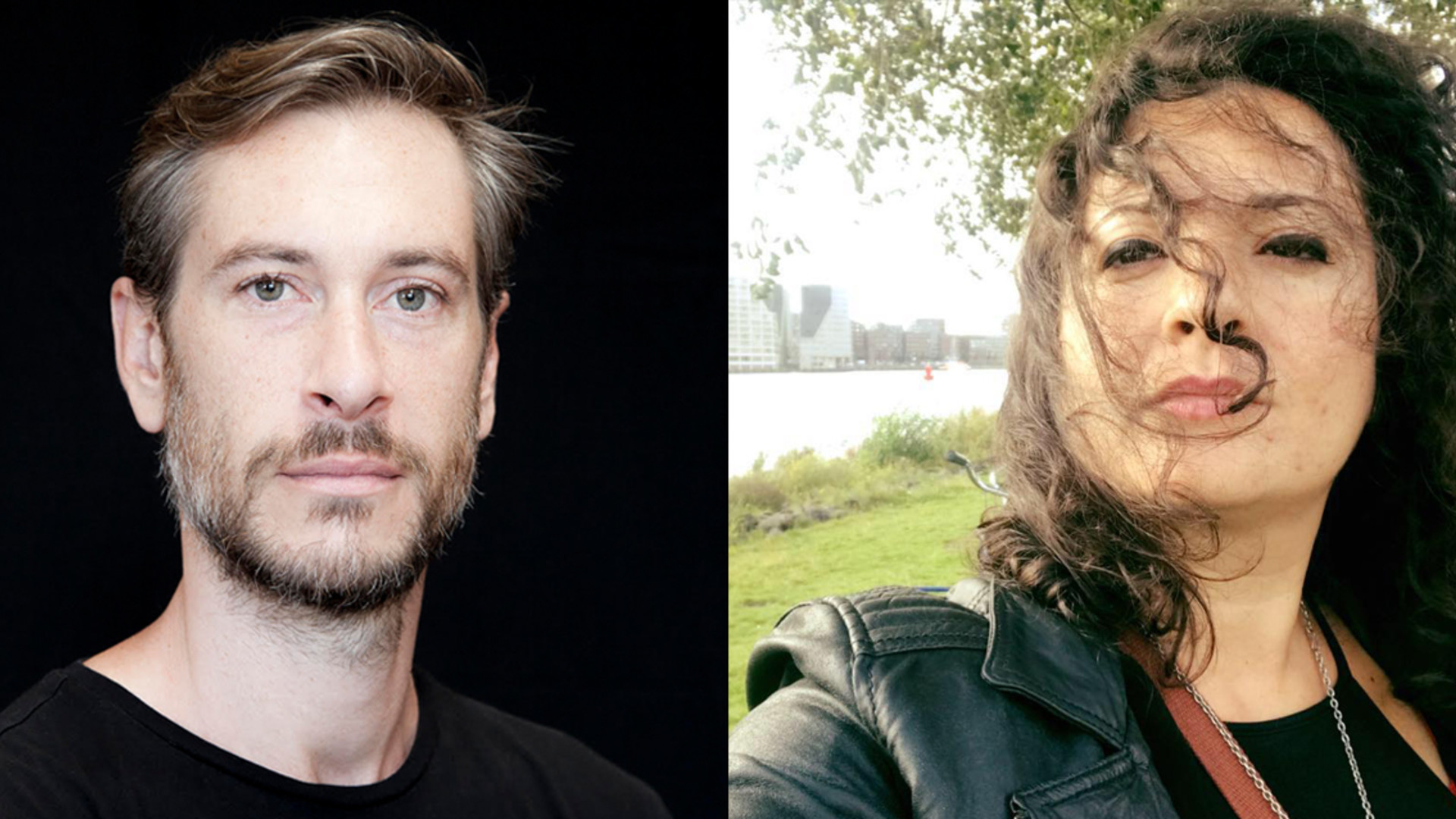 Two headshots showing 2 people from the shoulders up. On the left is a man with a beard and short hair, on the right a woman with mid-length brunette hair and a leather jacket.